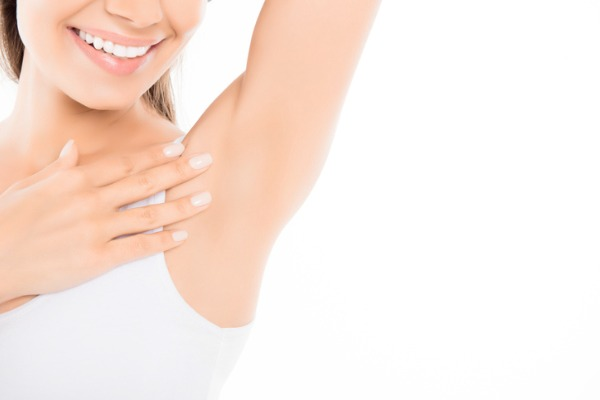 Woman armpit post laser hair treatment