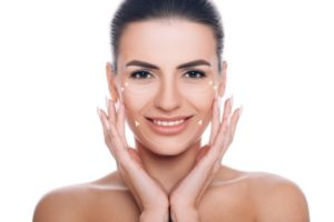 woman with lifting arrows on face - mesotherapy
